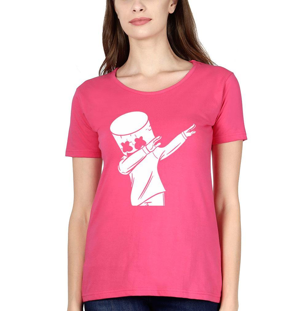 Ektarfa Garments Women Half Sleeves T-Shirts Dab Marshmello T-Shirt for Women