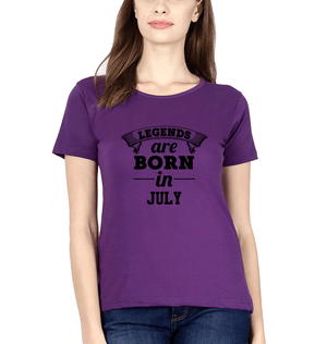 Ektarfa Garments Women Half Sleeves T-Shirts Legends Are Born In July T-Shirt for Women