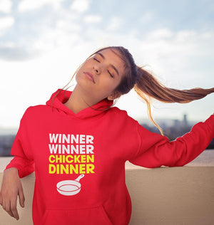 Ektarfa Garments Women Hoodies PUBG Winner Winner Chicken Dinner Hoodie for Women