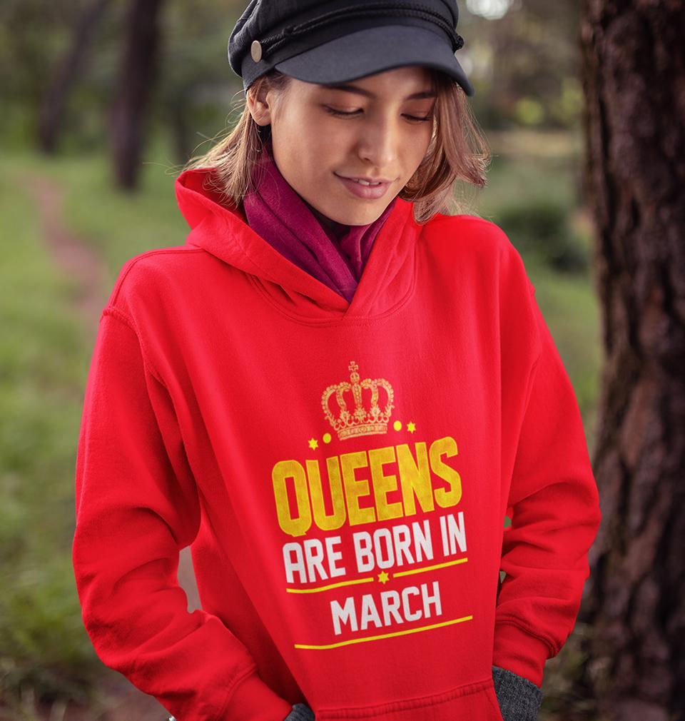 Ektarfa Garments Women Hoodies Queens Are Born In March Hoodie for Women