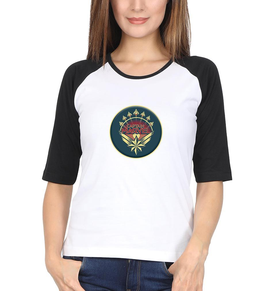 Ektarfa Garments Women Raglan Full Sleeves T-Shirts Captain Marvel Full Sleeves Raglan T-Shirt for Women
