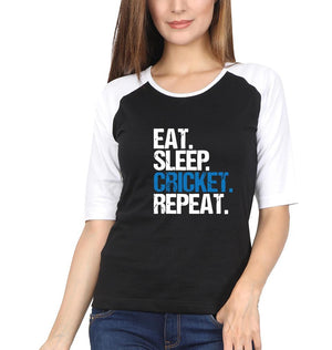 Ektarfa Garments Women Raglan Full Sleeves T-Shirts CRICKET Eat Sleep Cricket Repeat Full Sleeves Raglan T-Shirt for Women