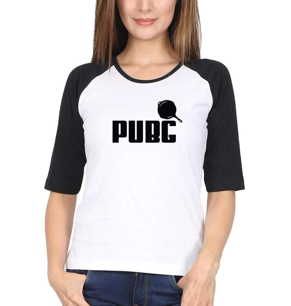Ektarfa Garments Women Raglan Full Sleeves T-Shirts PUBG Pubg Pan Full Sleeves Raglan T-Shirt for Women