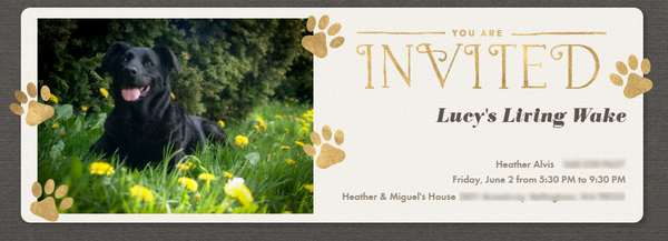 Lucy's Living Wake Invitation