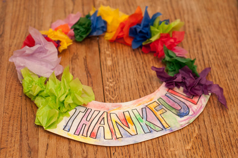 Thankful Tissue Paper Wreath for Kids