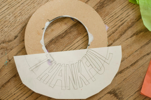 "Template for ""THANKFUL"" Sign on Wreath"