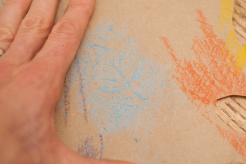 Step 1: Leaf Rubbing - leaf underneath and rub the top with the side of a crayon