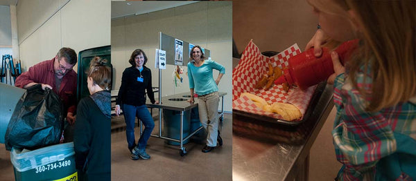 Putting Clean Compost into Food Plus, Waste Supervisor Volunteers Mardi & Heather, Reusable Condiment Squeeze Bottles
