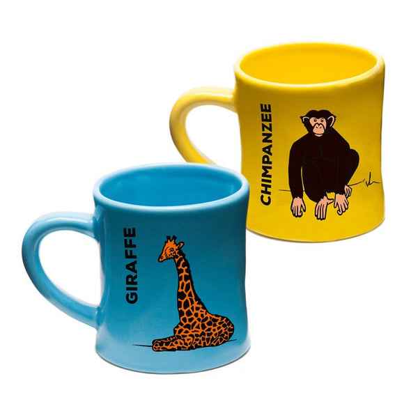 BittyMugs™ - Giraffe & Chimp-Ceramic Kids Mugs-Wildini