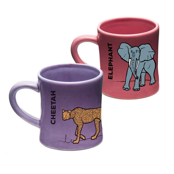 Ceramic Kids Mugs: BittyMugs™ - 4oz Elephant Mug & Cheetah Mug