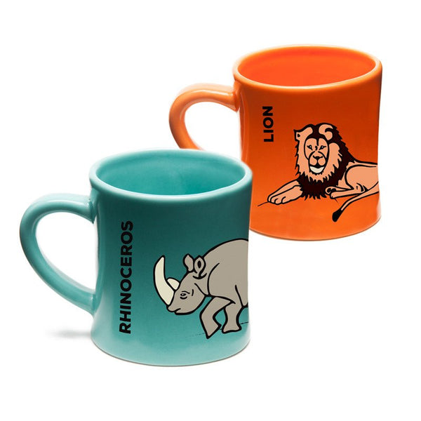 BittyMugs™ - Rhinoceros & Lion Mugs for Kids-Ceramic Mugs-Wildini