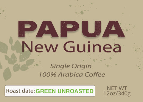 Papua New Guinea Organic Green Unroasted 12 oz