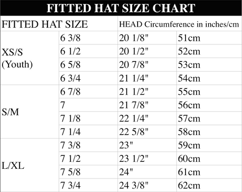 Fitted Hat Size Chart