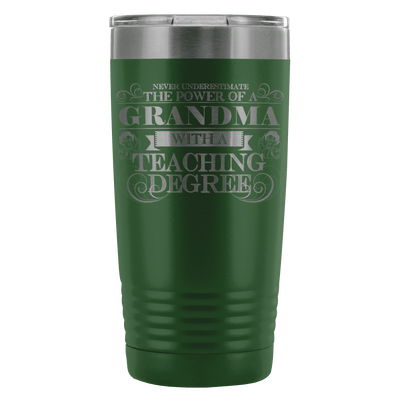 Never Underestimate The Power Of A Grandma With A Teaching Degree 20oz Tumbler - Awesome Librarians