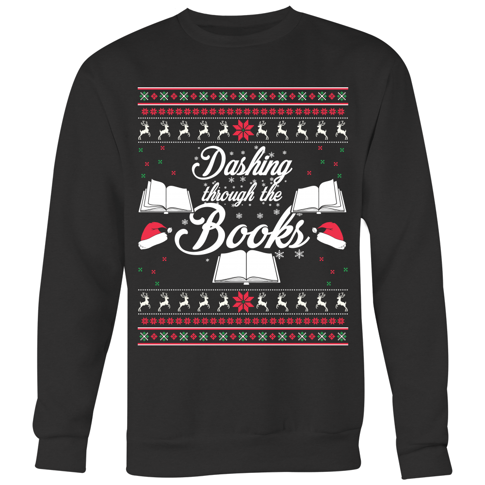 Dashing Through The Books Ugly Christmas Sweater - Awesome Librarians