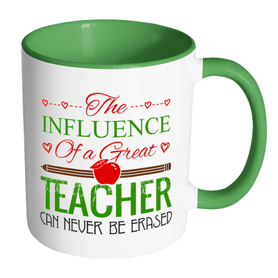 The Influence Of A Great Teacher Can Never Be Erased Accent Mug