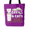 Books & Cats And Coffee Tote Bag - Awesome Librarians