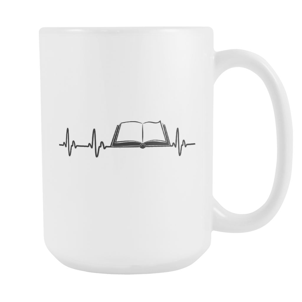 Heartbeat Of A Book Lover 15oz Mug - Awesome Librarians