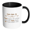 Two, Too, To. Two Cups Of Coffee Are Not Too Many To Have Each Day Accent Mug