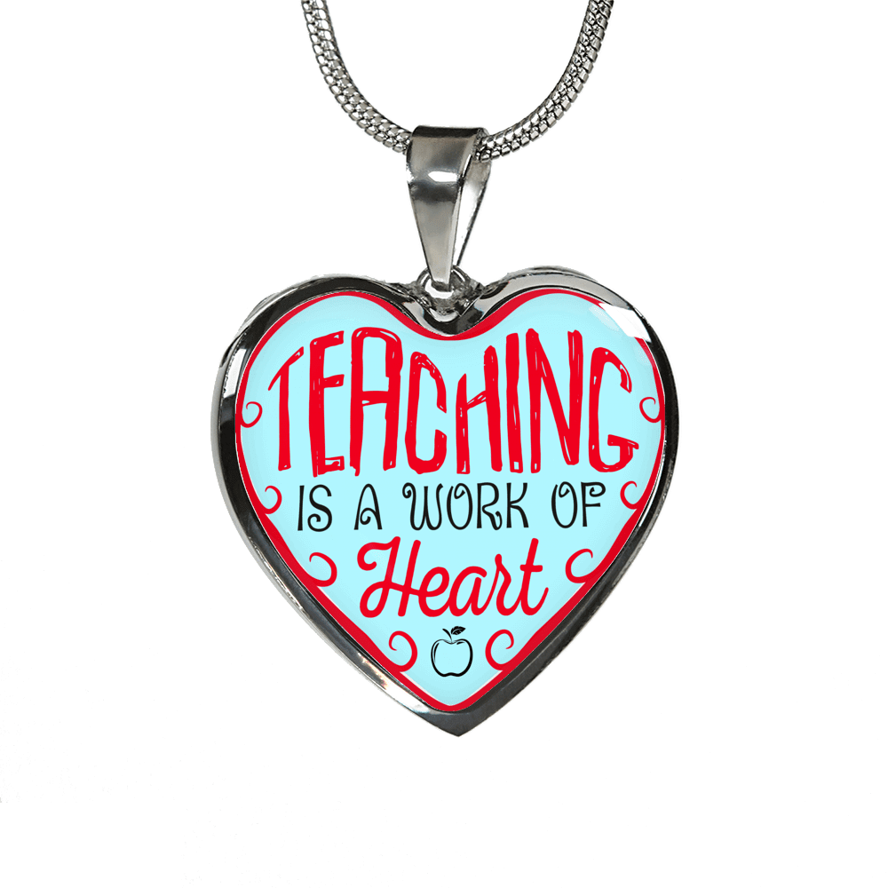 Teaching Is A Work Of Heart Heart Necklace - Awesome Librarians