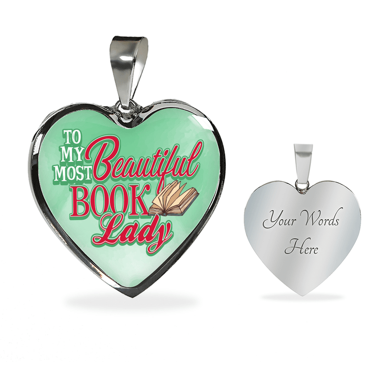 To My Most Beautiful Book Lady Heart Bangle Bracelet - Awesome Librarians