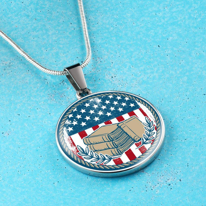 American Flag & Book Necklace - Awesome Librarians