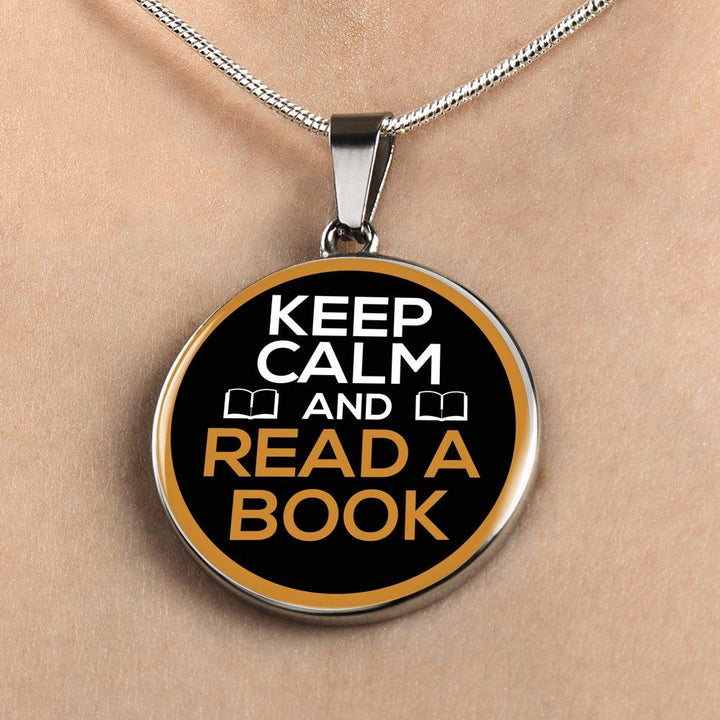 Keep Calm And Read A Book Necklace