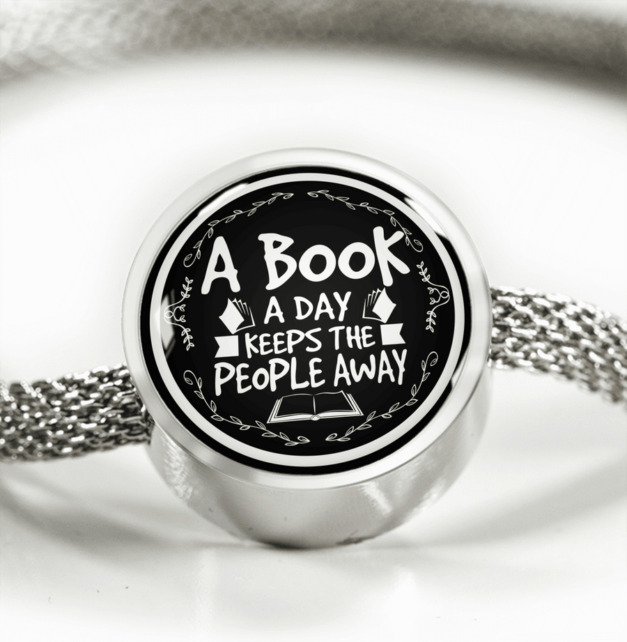 A Book A Day Keeps The People Away Circle Charm Bracelet - Awesome Librarians