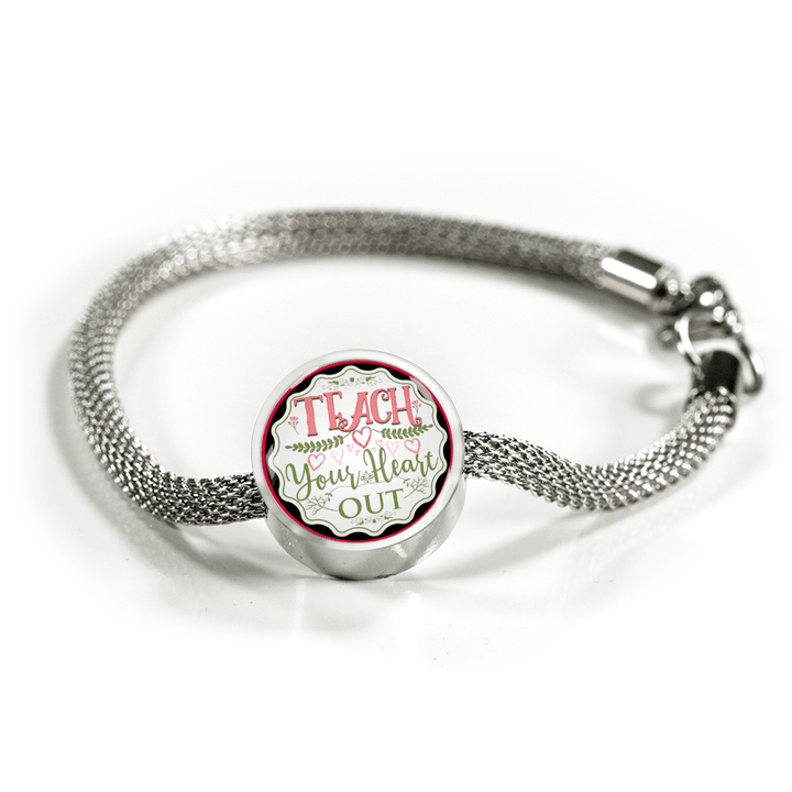 Teach Your Heart Out Metal Charm Bracelet