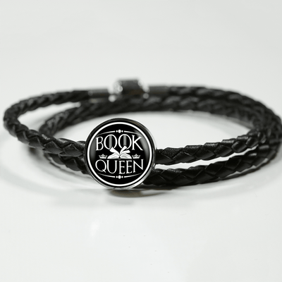 Book Queen Leather Circle Charm Bracelet