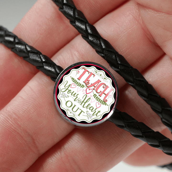 Teach Your Heart Out Leather Circle Charm Bracelet