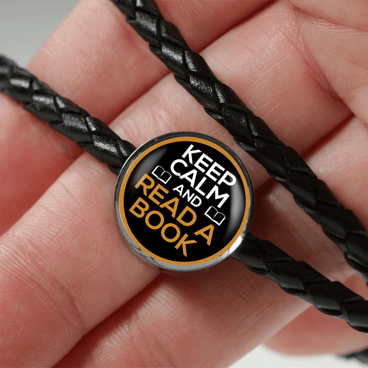 Keep Calm And Read A Book Leather Circle Charm Bracelet