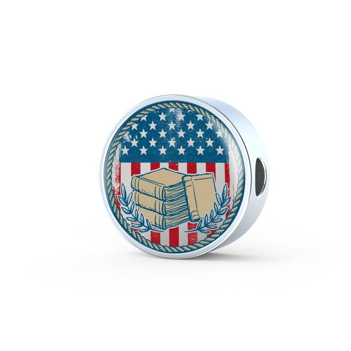 American Flag & Book Leather Circle Charm Bracelet - Awesome Librarians