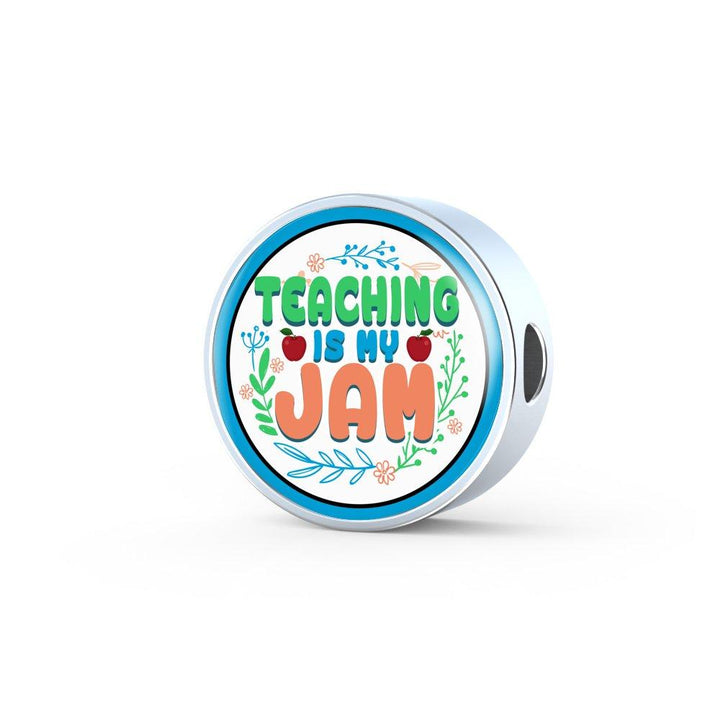 Teaching Is My Jam Leather Circle Charm Bracelet