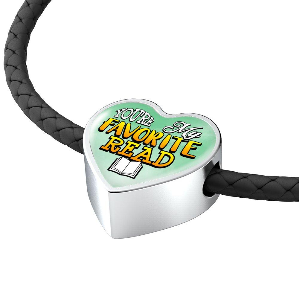 You're My Favorite Read Heart Leather Charm Bracelet
