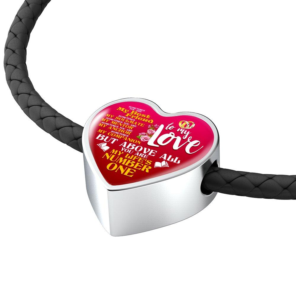 To My Love My Life's Number One Heart Leather Charm Bracelet