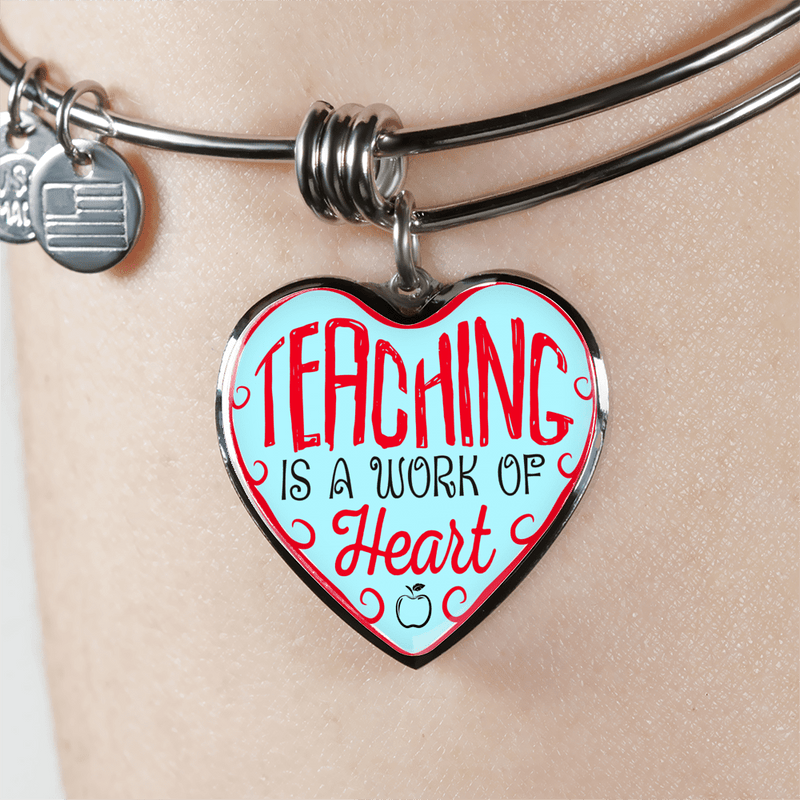 Teaching Is A Work Of Heart Heart Bangle Bracelet - Awesome Librarians