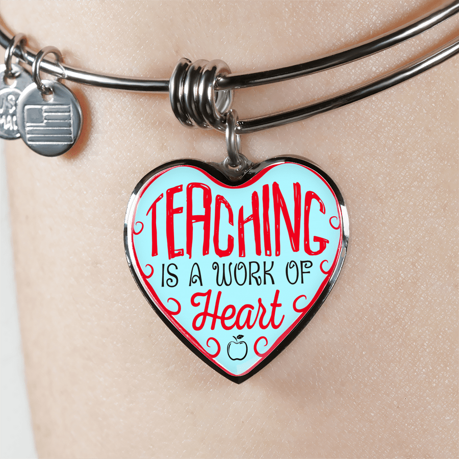 Teaching Is A Work Of Heart Heart Bangle Bracelet