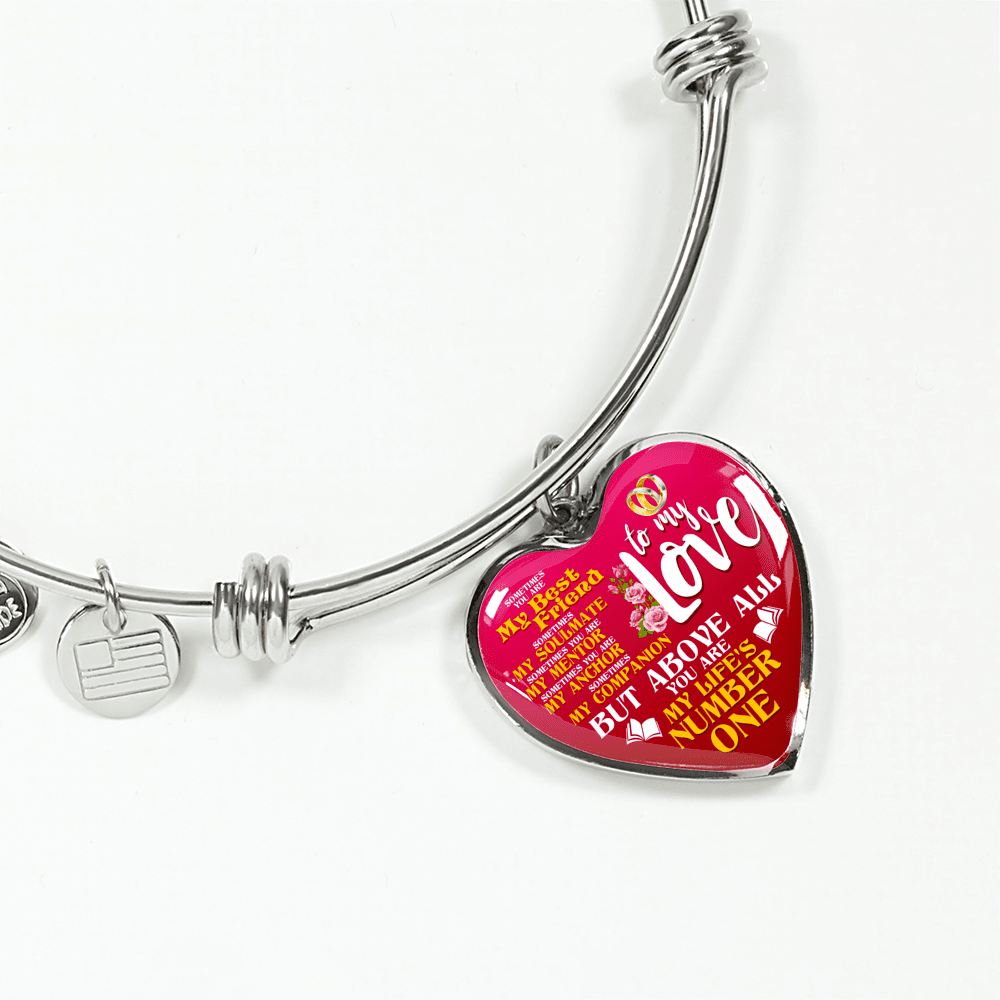 To My Love My Life's Number One Heart Bangle Bracelet