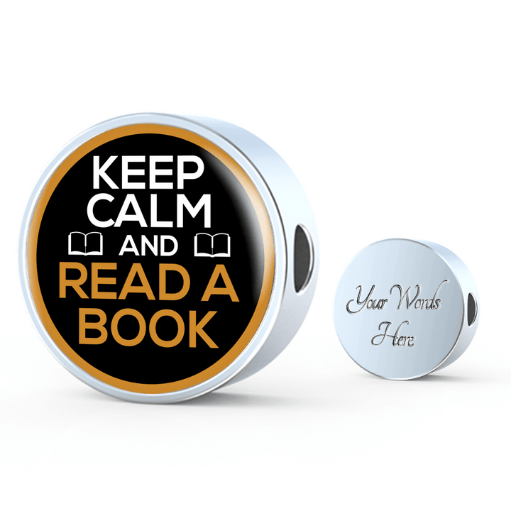 Keep Calm And Read A Book Round Charm Bracelet