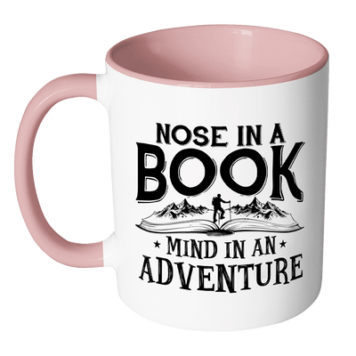 Nose In A Book Mind In An Adventure Accent Mugs - Awesome Librarians