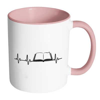 Heartbeat Of A Book Lover Accent Mug