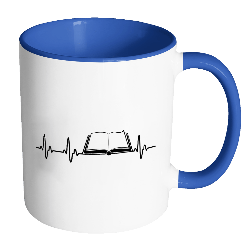 Heartbeat Of A Book Lover 11oz Accent Mug - Awesome Librarians