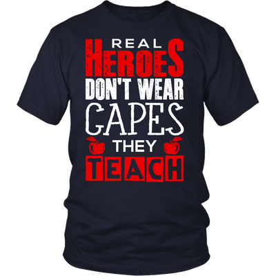 Real Heroes Don't Wear Capes They Teach Shirt - Awesome Librarians - 1