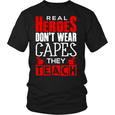 Real Heroes Don't Wear Capes They Teach Shirt - Awesome Librarians - 4