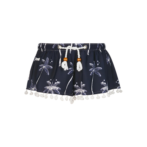 MIDNIGHT PALM SWIM SHORT SHORT