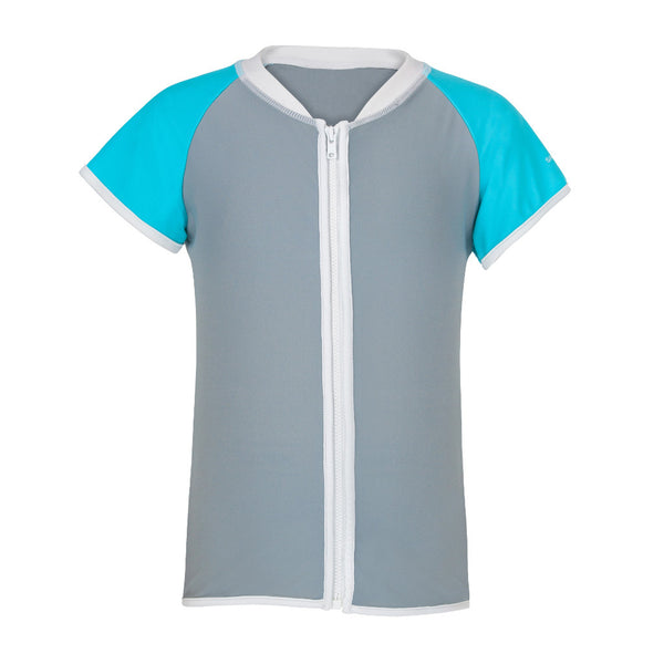 Aqua Grey Zip Up Rash Top Short Sleeve