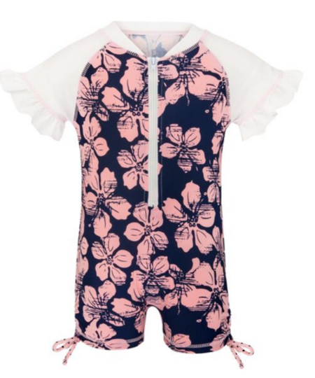 Hibiscus Navy/Ballet SS Sunsuit