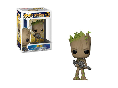 Funko Pop Marvel: Avengers Infinity War-Teen Groot with Gun Collectible Figure, Multicolor