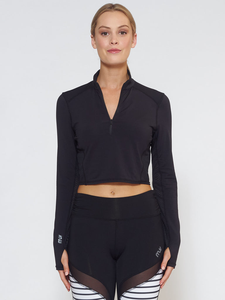MUV Sportswear_BREEZE Long-Sleeve Collared Crop_Colour Black_UV Protecting Sportswear